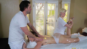 Massage the boss's big tits daughter Giselle Palmer with secret blowjob!