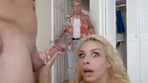 Teen slut Carmen Caliente fucked and gets a giant load on face when her father came in room!