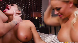 Two girls creampie in best porn video ever - lovely housemates Alexis Monroe, Cali Carter and Jessa Rhodes!