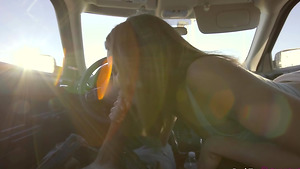 Cock hungry babe Angel Smalls sucking her stepbrother's cock in car!