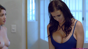 Lucas gets blowjob from his GF Jericha Jem when her stepmom Reagan Foxx comes in badroom!