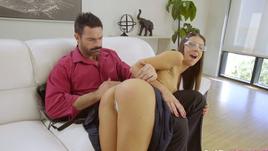 Stepdad bends stepdaughter over his knee, flips up her miniskirt, and spanks her!