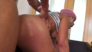 Young big assed Cherry Kiss gaping double penetration reams her asshole!