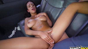 Young latina hottie with big natural tits Autumn Falls fucked in the bus.