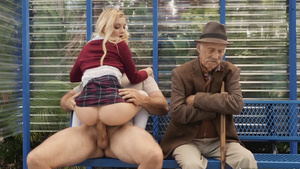 Grandfather watches how his tiny granddaughter Riley Star fucked on bus stop!