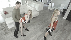 Cheerleaders Nikki Peach and Mackenzie Moss fuck with stepbrother after school!