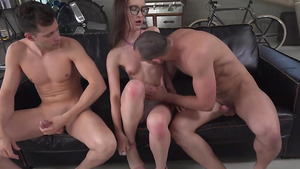 Having undressed, Sasha Sparrow starts to jump on dick and sucks the second cock.