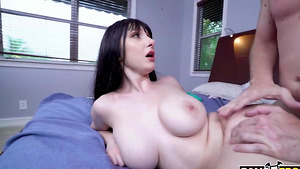 Sexy girl with big natural tits Dylann Vox gets a creampie!