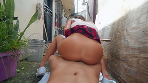 Tiny asian babe Vina Sky jumps on fat cock in the street!