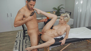 Blonde Skye Blue with big natural oiled tits missionary sex!