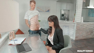 Young babe Melody Foxx blowjob at online interview HD porn tubes