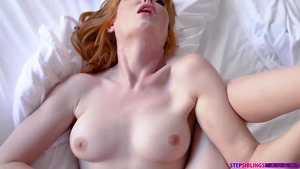 Stepbrother cum on stepsister's pussy and fuck her again: redhead Lacy Lennon creampie.
